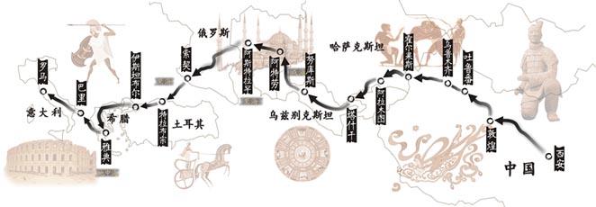 鼎盛时期丝绸之路路线图