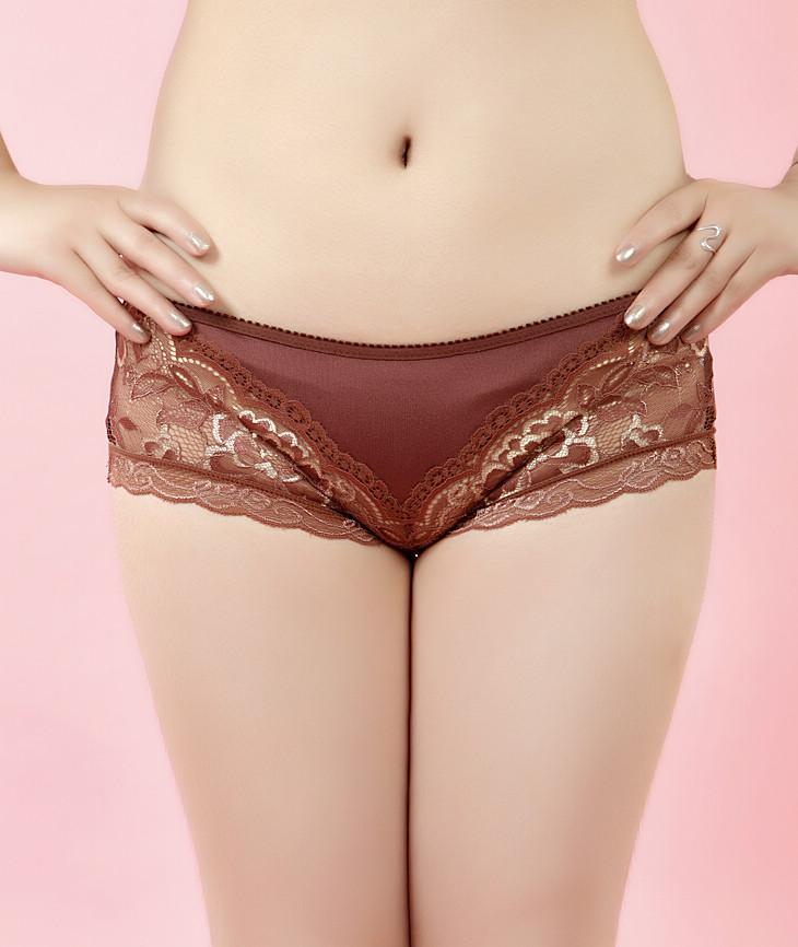 蕾丝内裤女低腰咖啡色刺绣花纹100%真丝