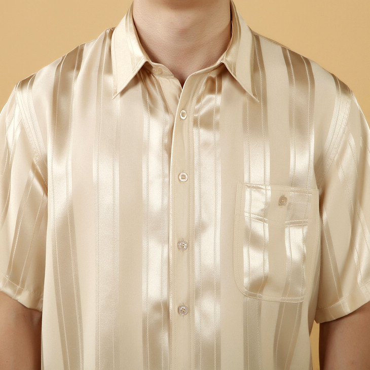 金棕色条形花纹短袖男式真丝衬衫
