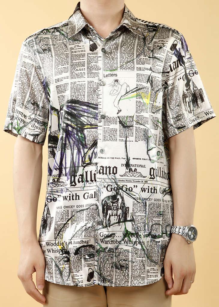 米黄色花纹短袖男式休闲真丝衬衫