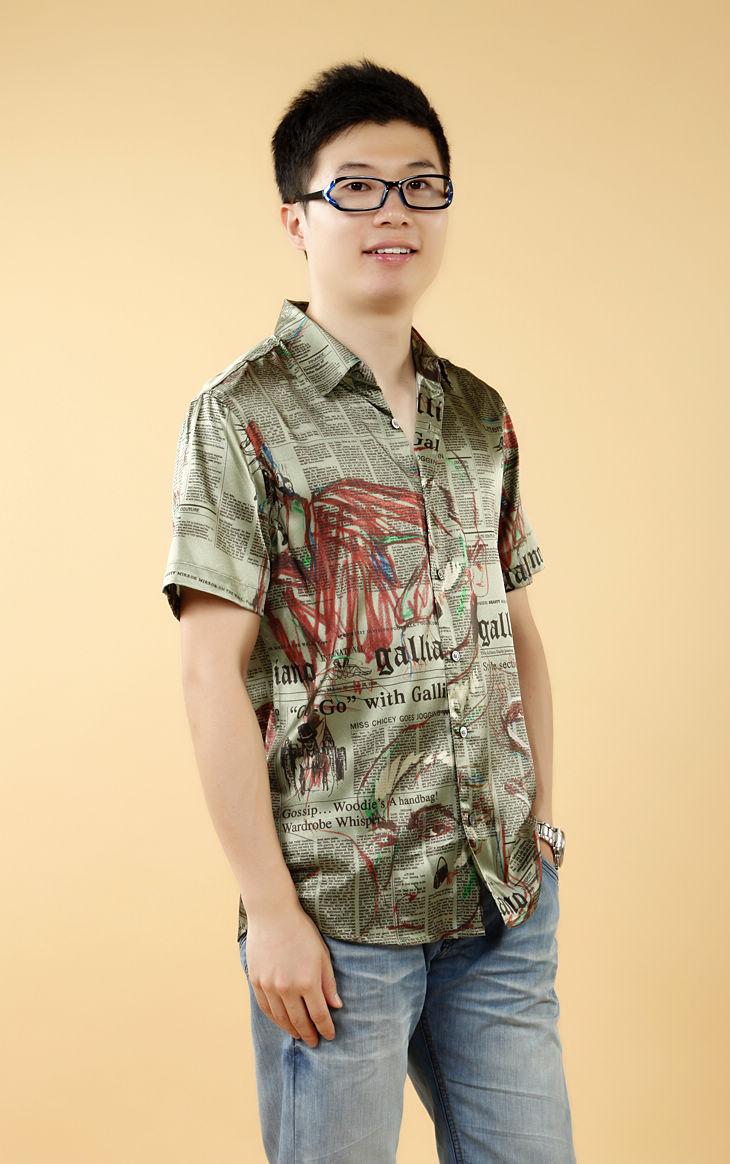 草绿色花纹短袖男式休闲真丝衬衫