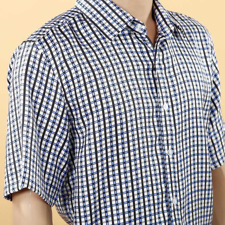 男生衬衫100%真丝天蓝色翻领短袖印花条纹