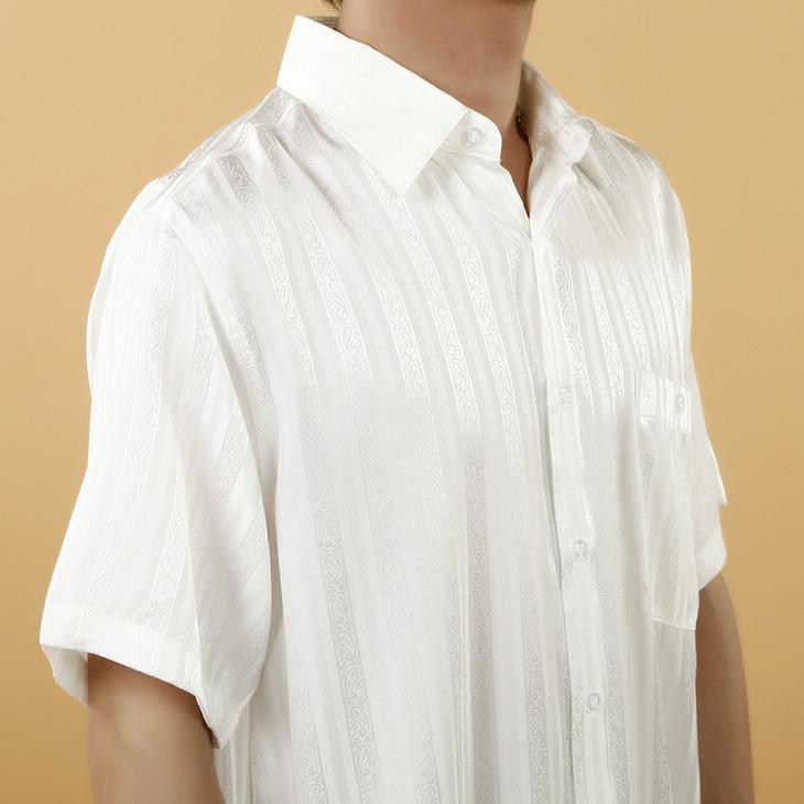 乳白色条形花纹短袖男式真丝衬衫