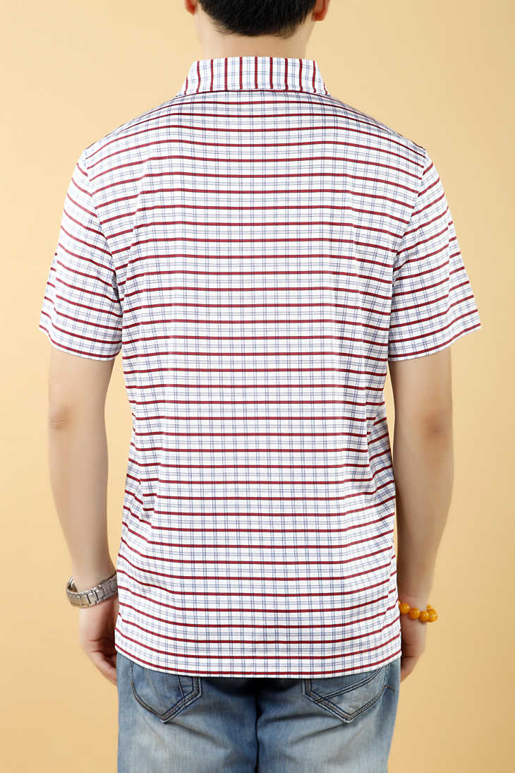 短袖t恤衫100%真丝红色条纹翻领印花男款_t恤衬衫__买