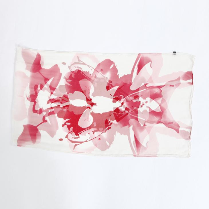 纯白底色红斑纹手绘长丝巾