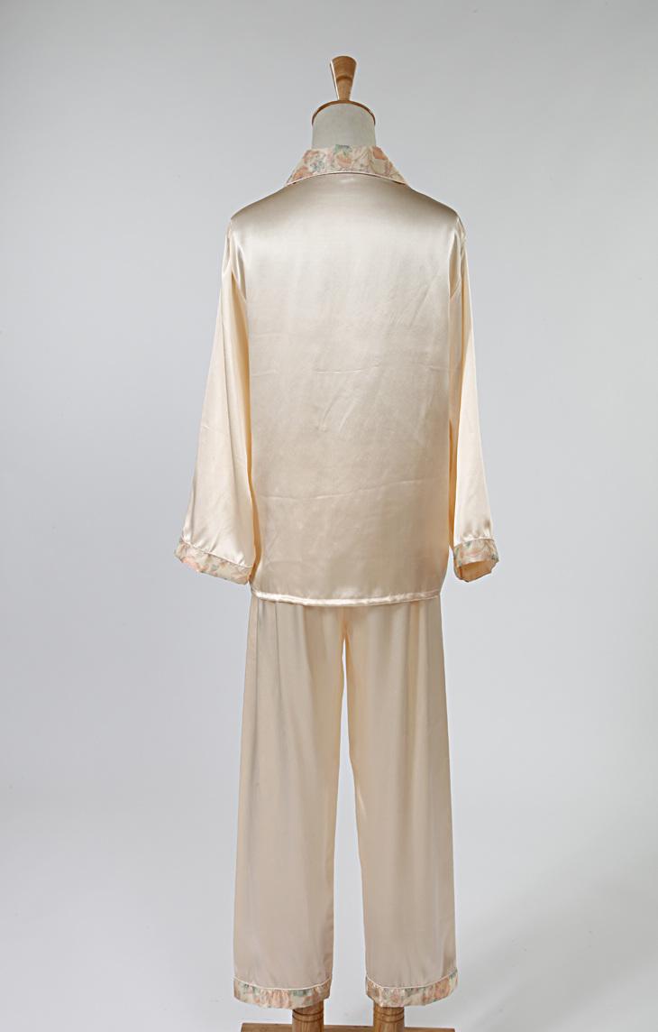 真丝睡衣两件套100%桑蚕丝女式长袖印花